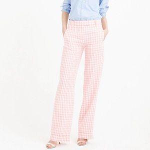 J. Crew Petite Linen Pant in Pink Gingham